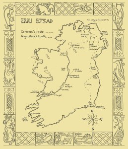 Routes taken by Cormac and Augustine.