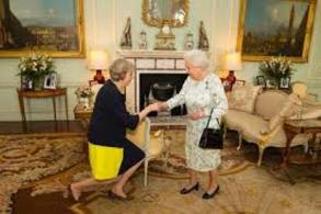 Theresa May elected Prime Minister on her knees before Queen Elizabeth