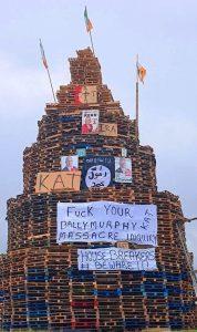 Loyalist bonfire, Belfast 11 July 2018
